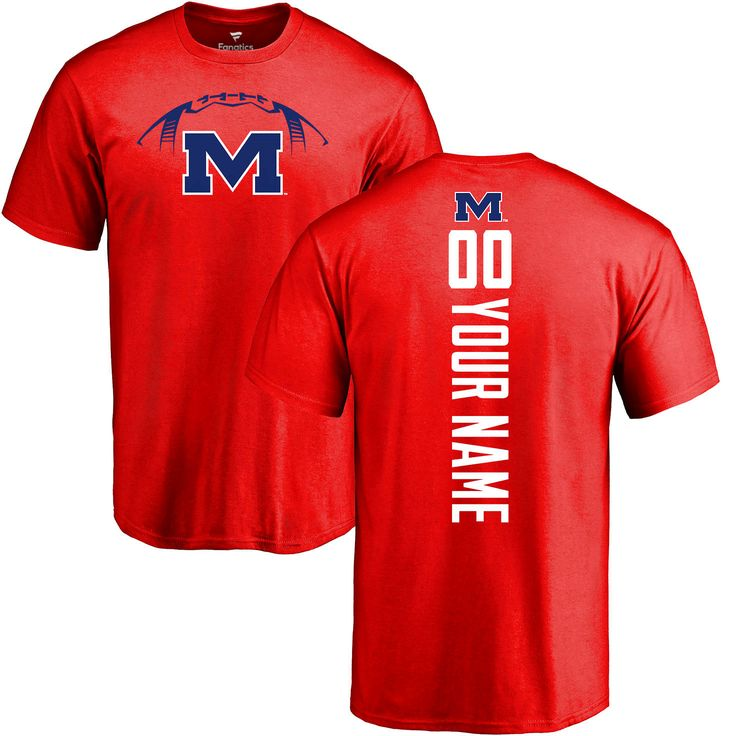 Ole Miss Rebels Football Personalized Backer T-Shirt - Red - $37.99