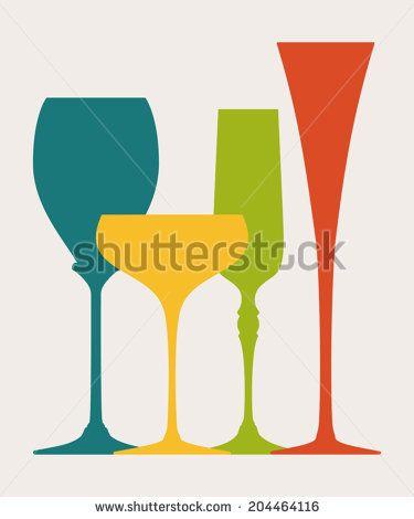 Colorful champagne glasses