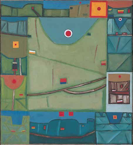 Jerzy Nowosielski, Wschód słońca w Bieszczadach, 1963, olej,płótno, 100 x 92 cm