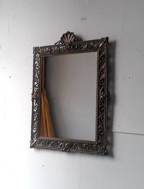Large Framed Mirror in Vintage Brass by SecretWindowMirrors, $160.00
