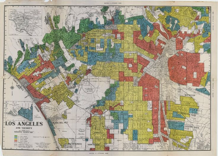 "1933 ""redlining"" map of LA, showing which zones the FHA"