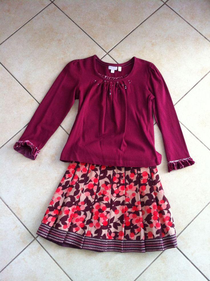 MONSOON Girls Burgundy/Multi Colored Skirt & Top Outfit Set 6-8  | eBay