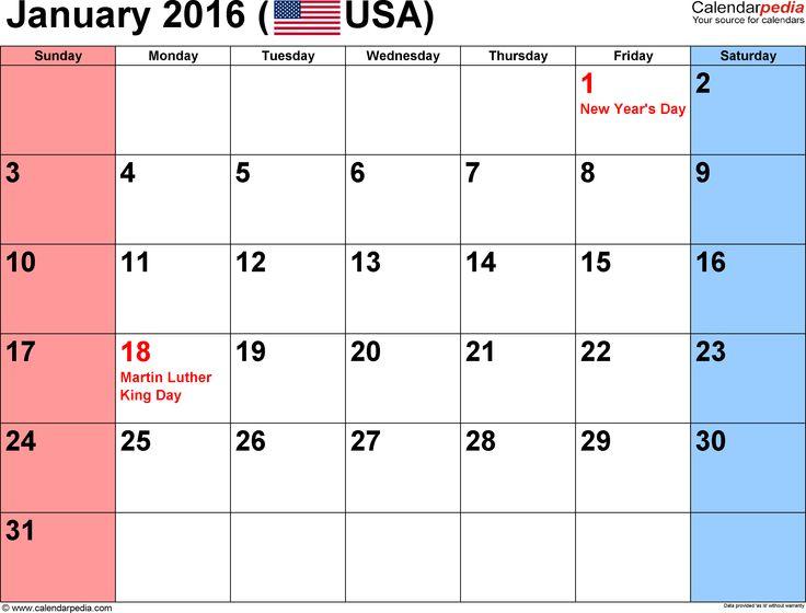 January 2016 Calendar With Holidays (shared via SlingPic)