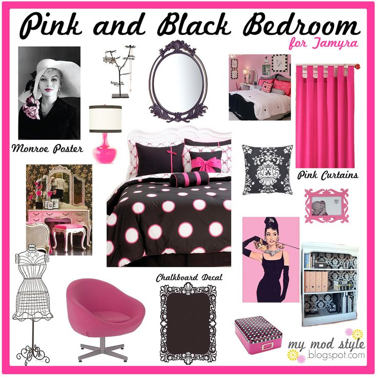 cute bedroom stuff in pink, black and white!