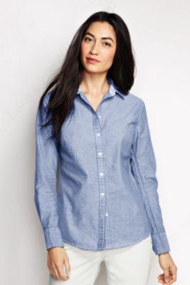 Women's Petite Long Sleeve Dots Washed Oxford Shirt