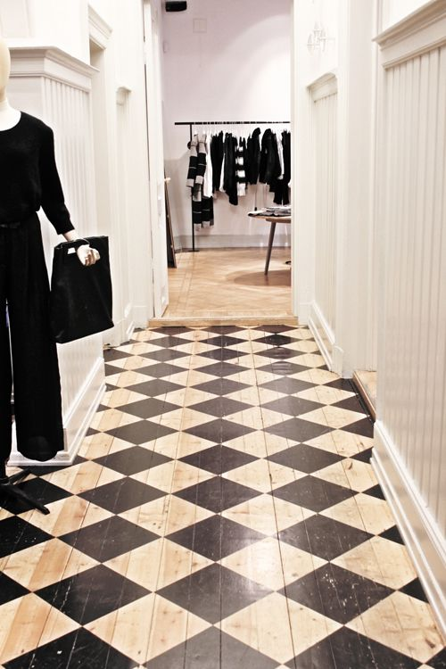Super nice painted floor in Acne store, Oslo.