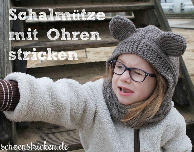 Schalmütze mit Ohren stricken Strickkit. schoenstricken.de