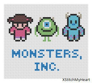 Monsters Inc. Cross Stitch Pattern PDF INSTANT by XStitchMyHeart