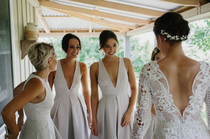 Modern white bridesmaid dresses by Sheike #bridesmaids