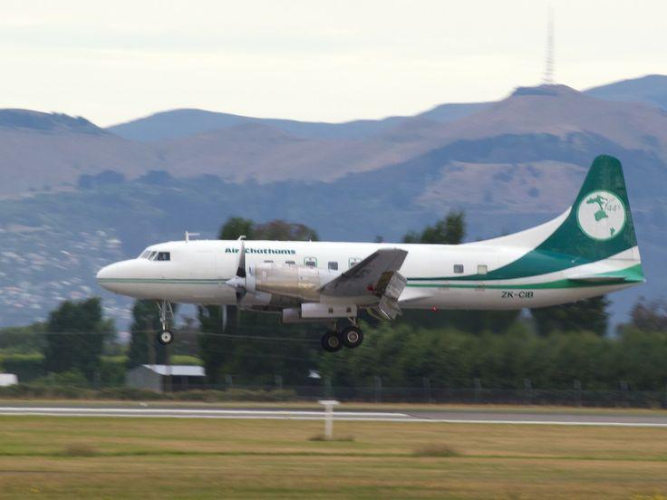 Air Chathams Convair 580 landing at Christchurch  Type: General Dynamics Allison Convair 440/580 Registration: ZK-CIB Location: Christchurch International Airport Date: 24/12/2013