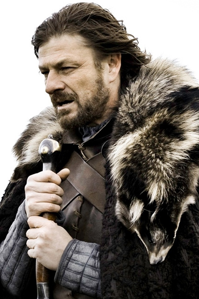 Sean Bean as Ned Stark. i think he looks really great with long hair. i like it better then when he has short hair