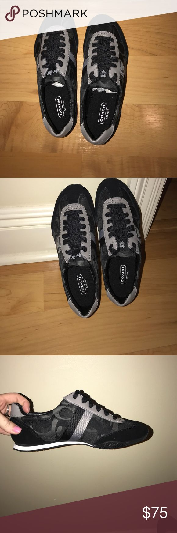 Coach tennis shoes Black and Grey Coach Running shoes!! NEVER WORN!!! Still in box and ready to be worn!! ❤️ Coach Shoes Sneakers
