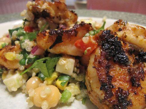 Grilled shrimp w Corn, Avocado & Quinoa Salad | Seafood Goodness ...