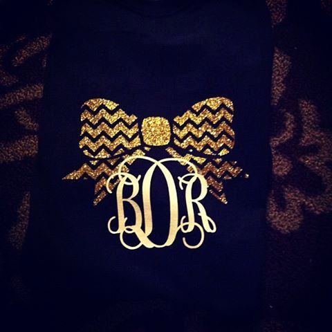 glitter chevron bow t-shirts. Short or long sleeve in the color of your choice. Bow and monogram in any color you would like!