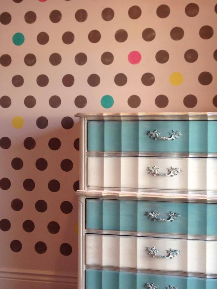 66 best polka dot stencils decor images on pinterest for Polka dot decorations for bedrooms