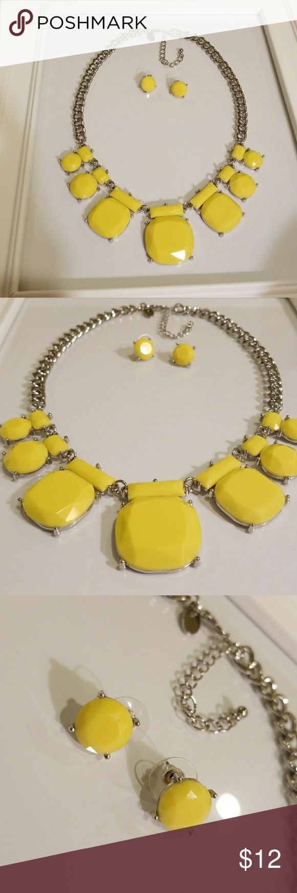 Yellow statement necklace NWOT Super fun bright yellow chunky necklace with silver adjustable chain.  Complete with matching earrings! NEVER WORN!! Charming Charlie Jewelry Necklaces