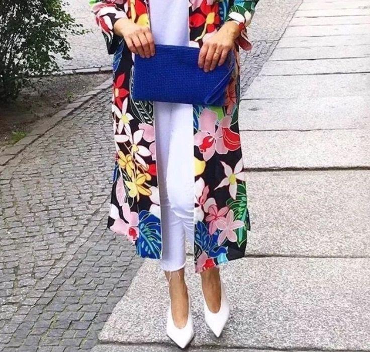 NWT ZARA MIDI TROPICAL PRINT OVER SHIRT FLORAL KIMONO DRESS  Size L Ref.2716/484 #ZARA #Dress #Casual