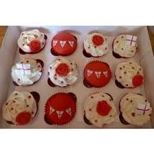 Image result for st georges day cupcakes