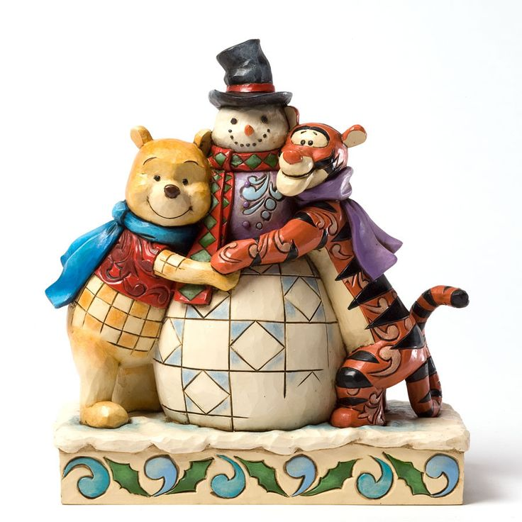 Pooh and Tigger with Snowman Figurine