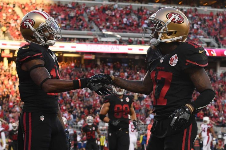 Thursday Night Football: Cardinals vs. 49ers  -  October 6, 2016:  33 - 21, Cardinals  -    Jeremy Kerley #17 of the San Francisco 49ers celebrates with Quinton Patton #11 after scoring a touchdown in the second quarter during their NFL game against the Arizona Cardinals at Levi's Stadium on Oct. 6, 2016 in Santa Clara, California.