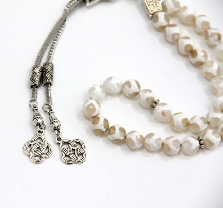 White Striped Fire Agate Aqeeq 33 Tasbeeh, Silver plated tassel, Misbaha, Prayer Beads, Islamic Rosary, Worry beads, Islamic gift, Tasbih by Vanilleecom on Etsy