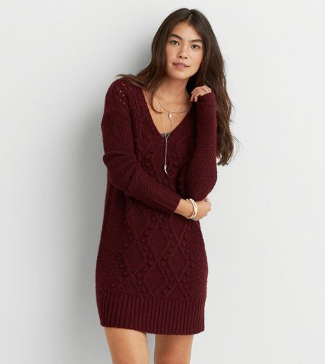 Burgundy AEO Cable Knit Sweater Dress- small