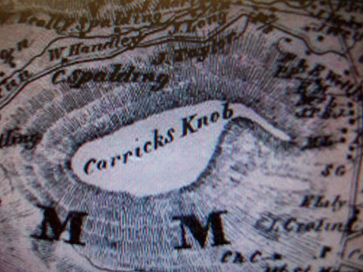 On the 1858 wall map of Frederick County, the location Cy in the novel, AURORA REDRESS by Zina Abbott, identified as Quirauk Mountain was known as Carricks Knob.