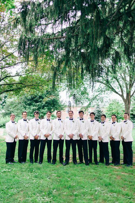 Groomsmen in Ivory Dinner Jackets | Nikki Santerre Photography | TheKnot.com