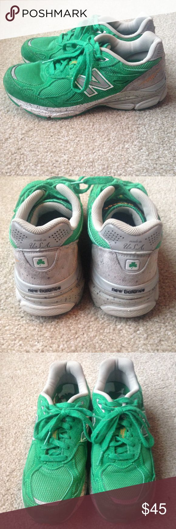New Balance 990 - Boston Marathon 2014 Edition. New Balance 990 - Boston Marathon 2014 Edition.   Annual style released for Boston Marathon. Kelly green with shamrock accents. Map on insole. Like new - worn twice. Never worn with included insole. Size 6. New Balance Shoes Athletic Shoes