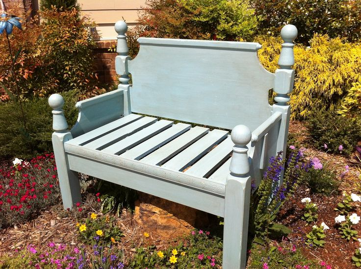 headboard garden bench Benches Made From Bed Frames | Repurposed Bed Frame