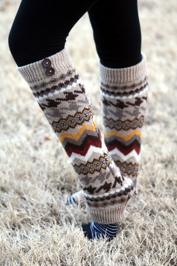 Aztec Legwarmers- Tan Leg warmers, Khaki Legwarmers, Brown, Knitted Leg warmers, Boot Socks, Boot cover, Winter Socks, Aztec Print on Etsy, $24.00