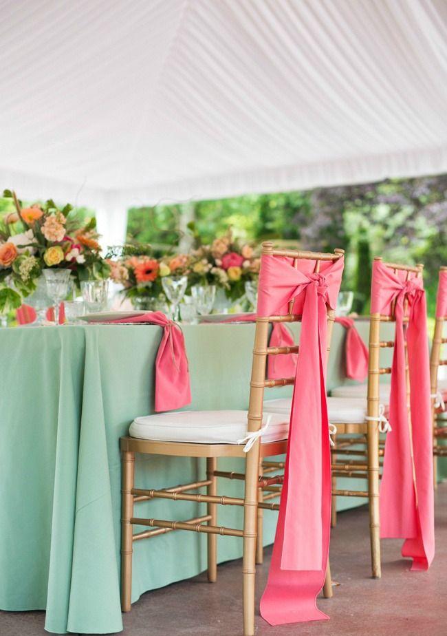 Decoracion boda mint y coral