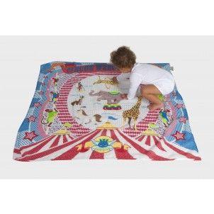 Its a Muslin Wrap, Blanket, Pram shade, Floor mat and much more! Weegoamigo Digital Printed Muslin Circus.