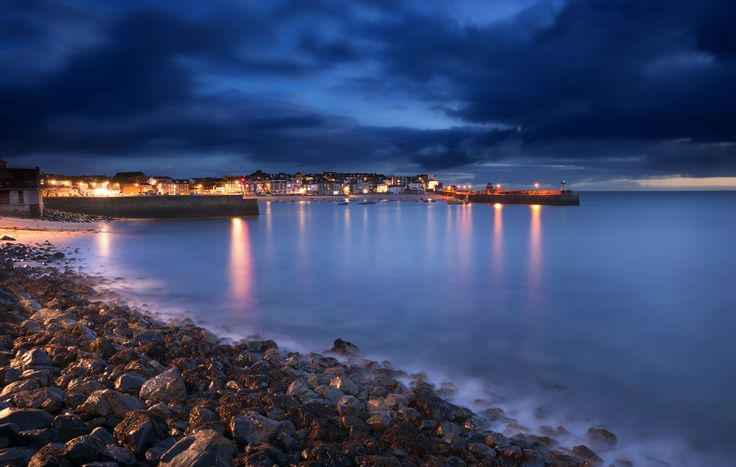 Lights in St Ives harbour in the evening by Robert Kendall. #coast #StIves #Cornwall