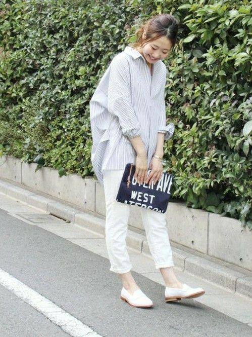大人女子の定番、スキッパーシャツ♡40代アラフォー女性のスキッパーシャツのコーデ♪