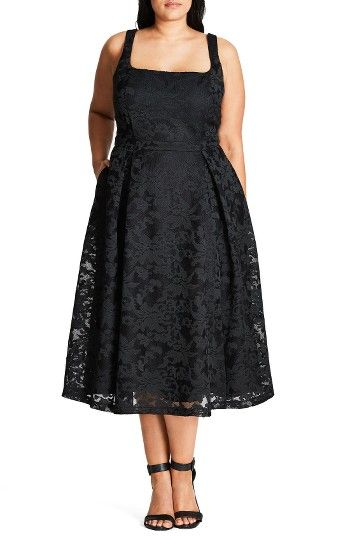 171b7049a2 Free shipping and returns on City Chic Jackie O Lace Fit   Flare Dress (Plus