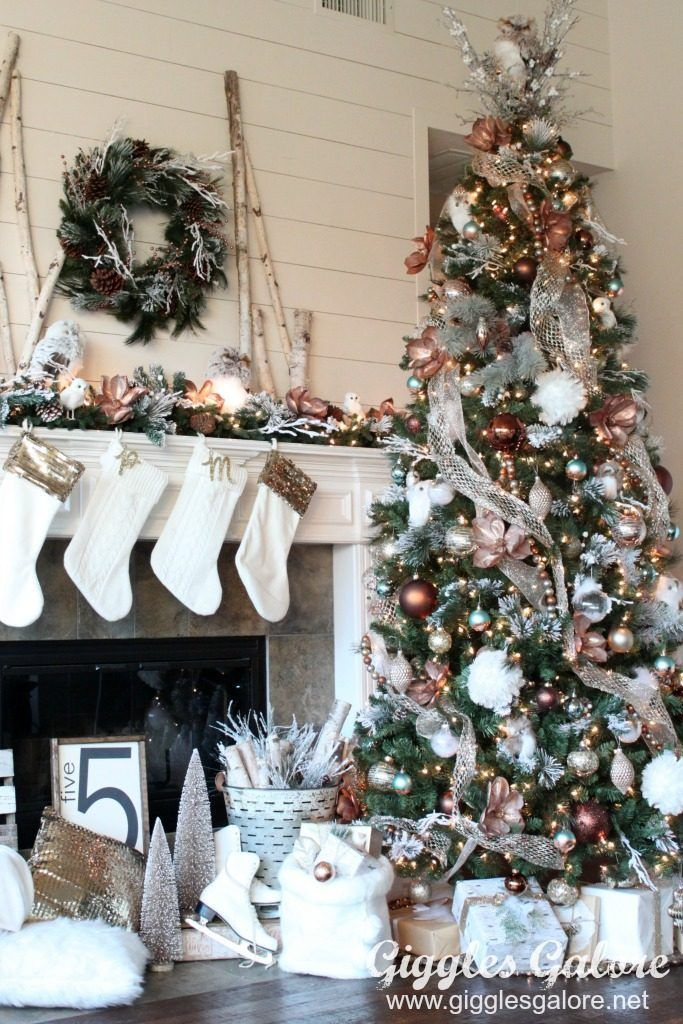 Create a winter wonderland with this Glam Metallic Farmhouse Christmas Tree. Michaels Dream Tree Challenge