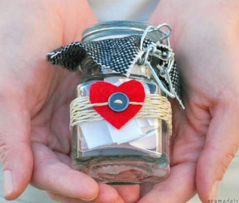 Bricolage de St-Valentin à faire soi-même - pot masson