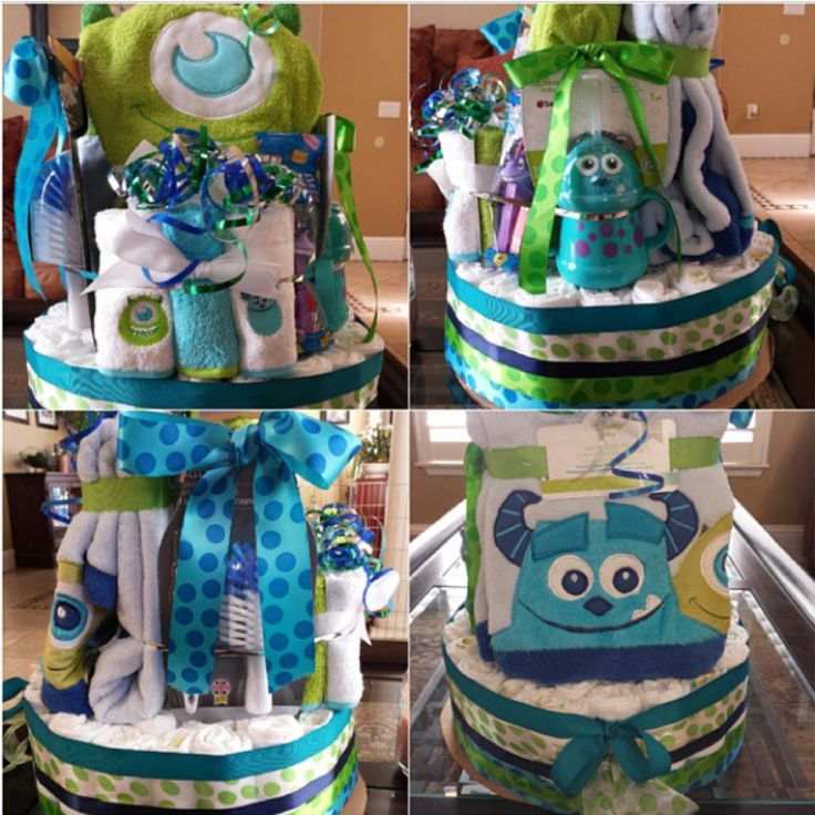 Monsters inc diaper cake baby pinterest diapers for Baby shower decoration ideas with diapers