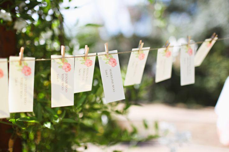 Los marcadores de puestos colgaditos con ganchos de ropa