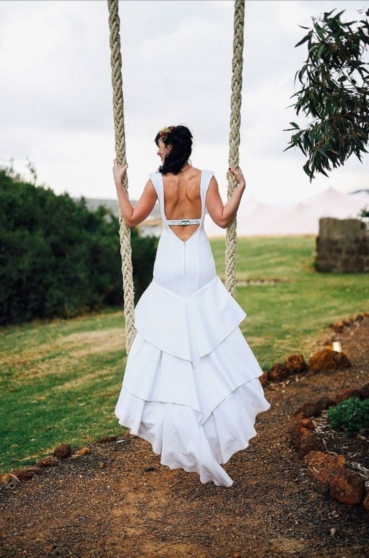 Mexican inspired, open back wedding dress | Dress by Robyn Roberts | Photo by Duane Smith http://www.theprettyblog.com/wedding/festival-wedding/