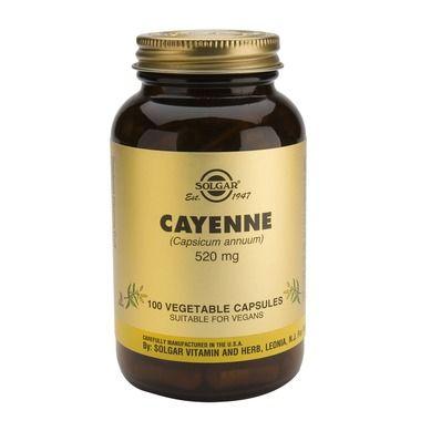 Cayenne 520mg,  καρδιαγγειακά ωφέλη, ενδυναμώνει την κυκλοφορία του αίματος και έχει επίσης αντιβακτηριακές ιδιότητες, ανακουφίζει τον πόνο και βοηθά στην πέψη.