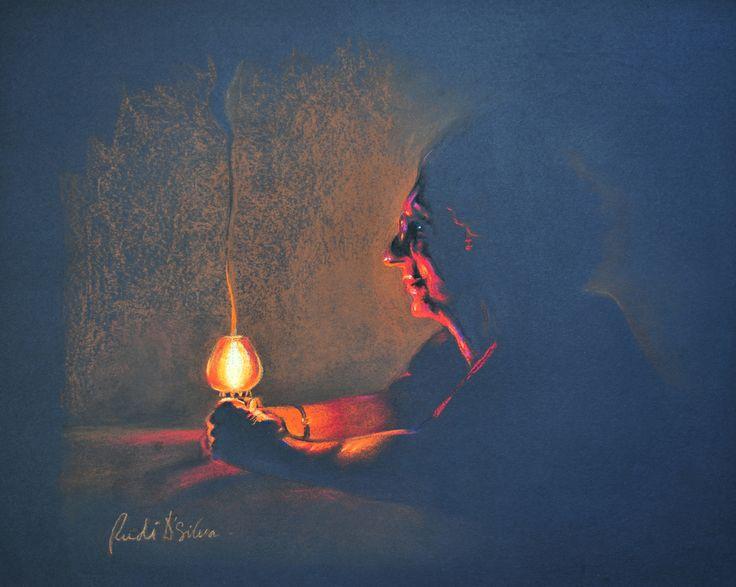 The Light bearer - Pastels on black paper