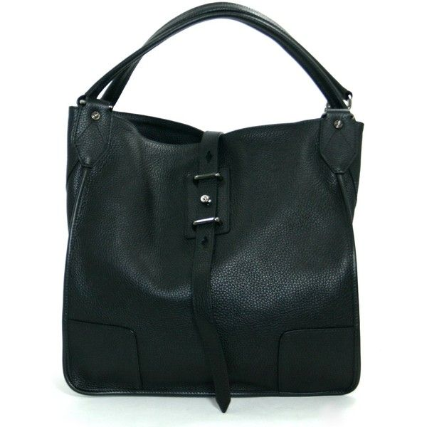 Pre-Owned Belstaff Black Textured Leather Nottingham 38 Shopper Bag (2 210 BGN) ❤ liked on Polyvore featuring bags, handbags, tote bags, black, multi color purse, travel tote bags, travel handbags, colorful handbags and travel purse