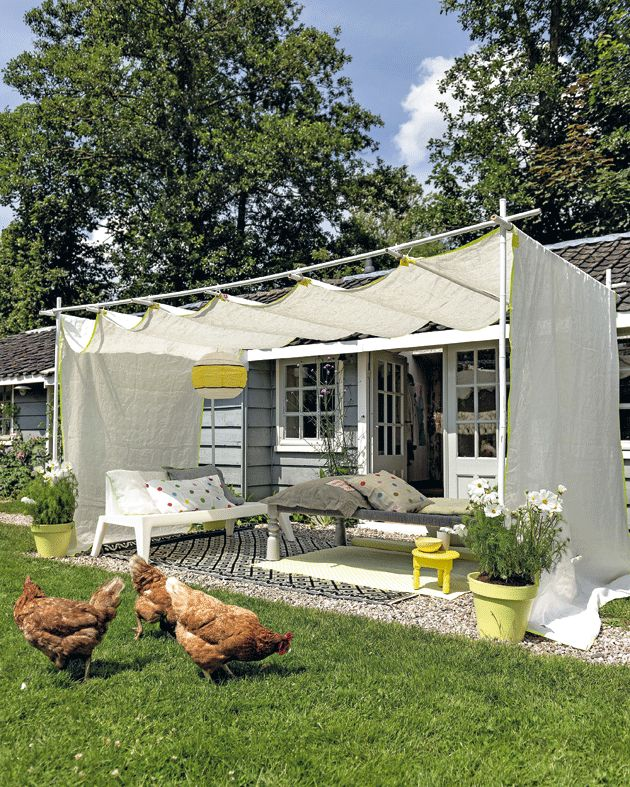 make a Sun Canopy in 12 steps... chickens not included