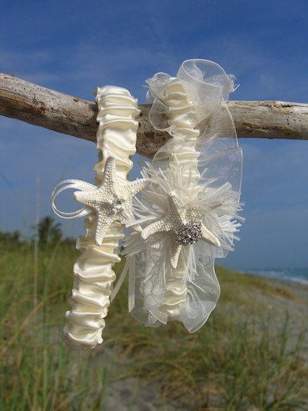 Beach Wedding Starfish Garter Set-ELEGANT IVORY-Bridal Garter Set, Beach Wedding, Destination Wedding, Starfish Wedding, Mermaid,Ocean Theme on Etsy, $32.50