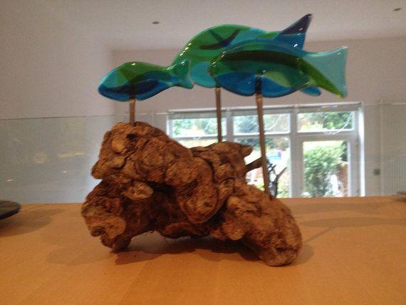 3 fish shoal on driftwood by AndyBullGlassArt on Etsy