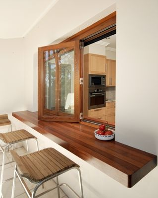 Bifold windows for servery Love the wooden top- not sure it'll go with decking…