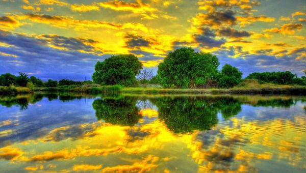 Golden clouds reflections