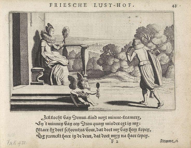 Jan van de Velde (II)   Jonge man bij een vrouw met een handspiegel op een bordes, Jan van de Velde (II), Paulus Aertsz. van Ravesteyn, Dirck Pietersz. Voscuyl, 1621   Een jongeman, met zijn hand aan zijn kin en over zijn arm zijn hoed en mantel, bij een jonge vrouw op een bankje voor een huis, een handspiegel in haar hand. Op de trap van het bordes zit Amor, eveneens met een handspiegel in de hand. Rechtsboven genummerd: 43.
